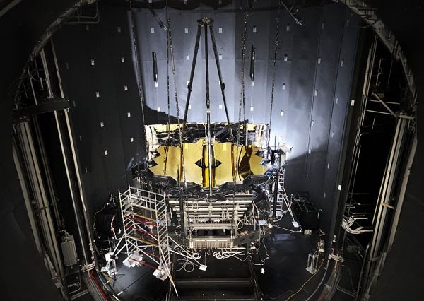 The large door of the Johnson Space Center's Chamber A is opened...revealing NASA's James Webb Space Telescope after it completed cryogenic testing on November 18, 2017.