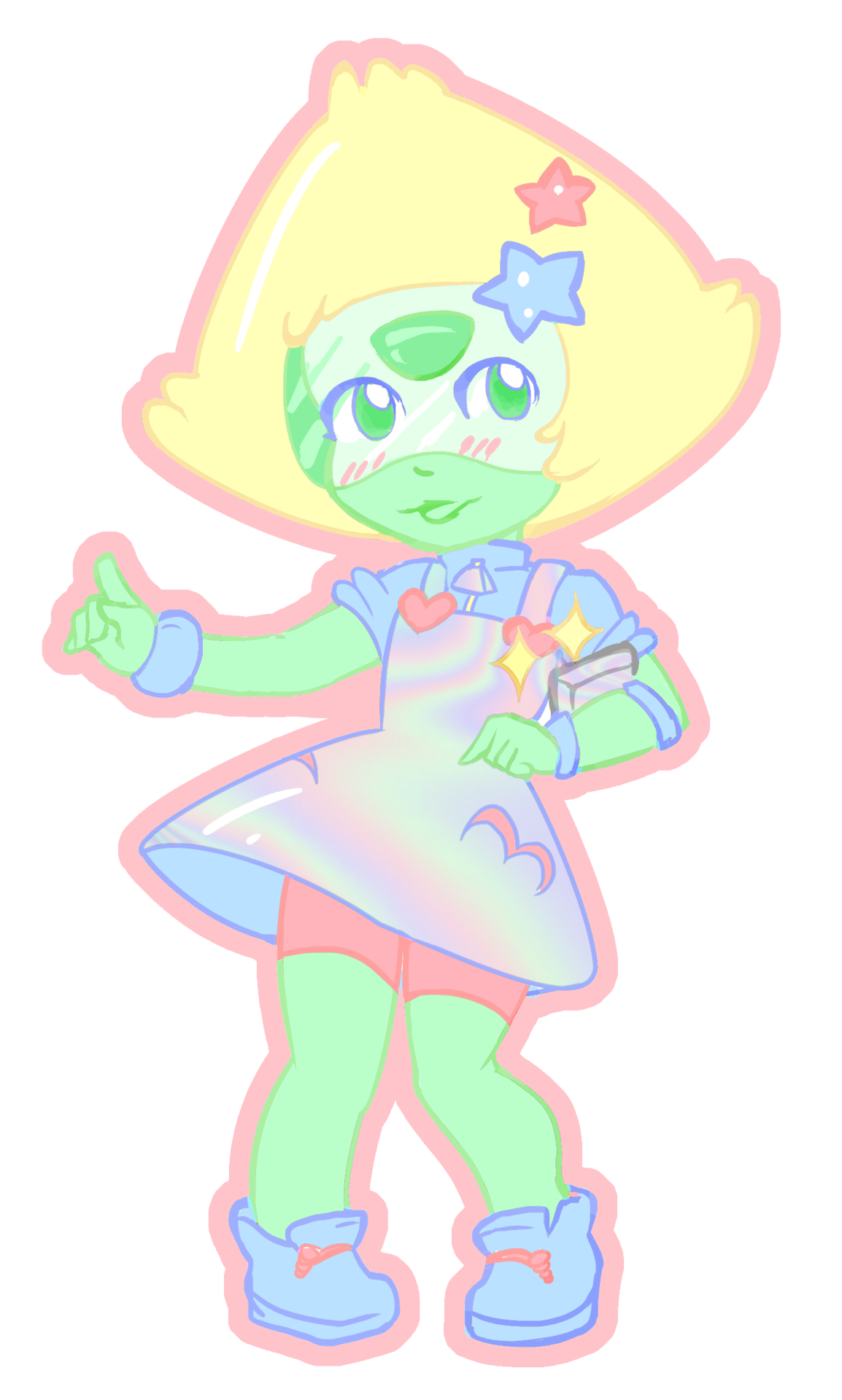 I'm trying to design a character for Starfinder but I'm real bad with sci fi so I ended up drawing an uchuu kei Peridot instead. lookshehasstaraccessoriesjustlikearealcrystalgem
