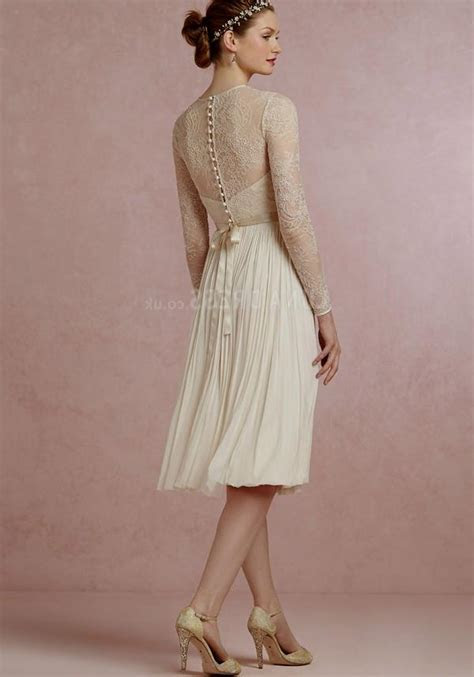 knee length wedding dresses with lace sleeves Naf Dresses