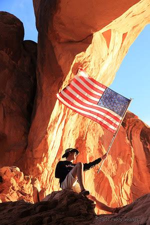 Aaron gets patriotic in Arches National Park, Utah