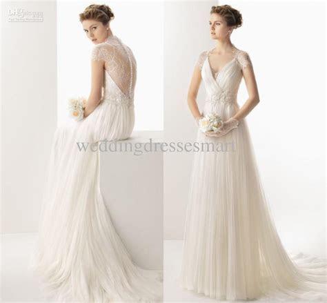 Discount 2014 Vintage Slim A Line Wedding Dresses Pleated