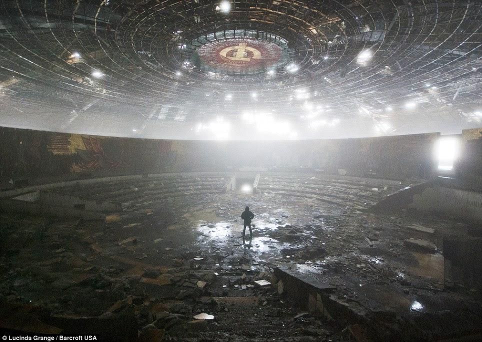 Panorama: Miss Grange exploring the ruins of the Bulgarian Communist Party headquarters in Mount Buzludzha, Bulgaria