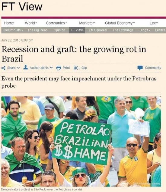 Título do editorial: 'Recessão e politicagem: a crescente podridão no Brasil'