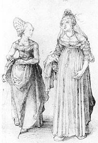 Albrecht Dürer's drawing contrasts a well turn...