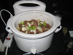 Broth Added to Slow Cooker