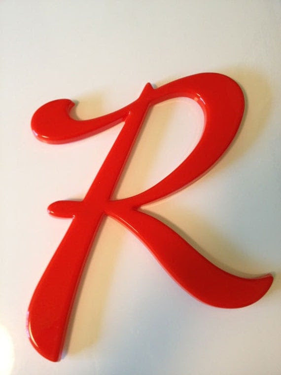 Vintage Letter R Initials Orangey Red Name Wall Decor 12 by LuLish