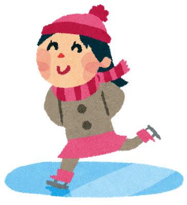 フリー素材 笑顔でアイススケートを滑る女の子のかわいいイラスト