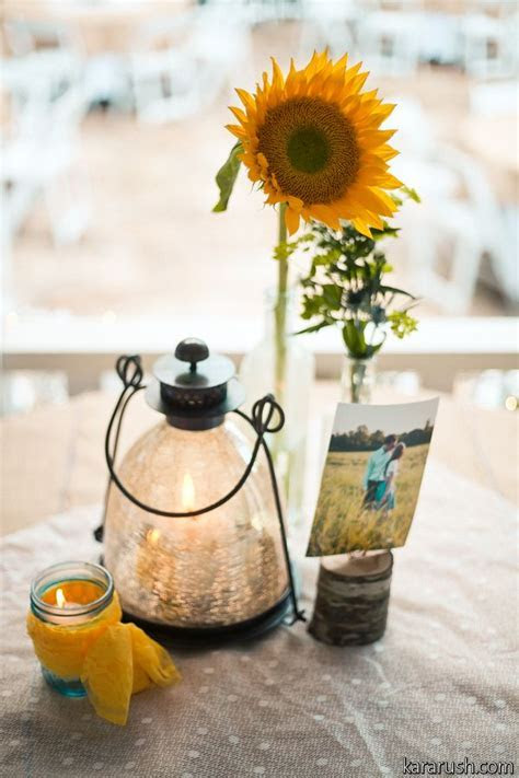 This was a simple centerpiece with a single Sunflower in a