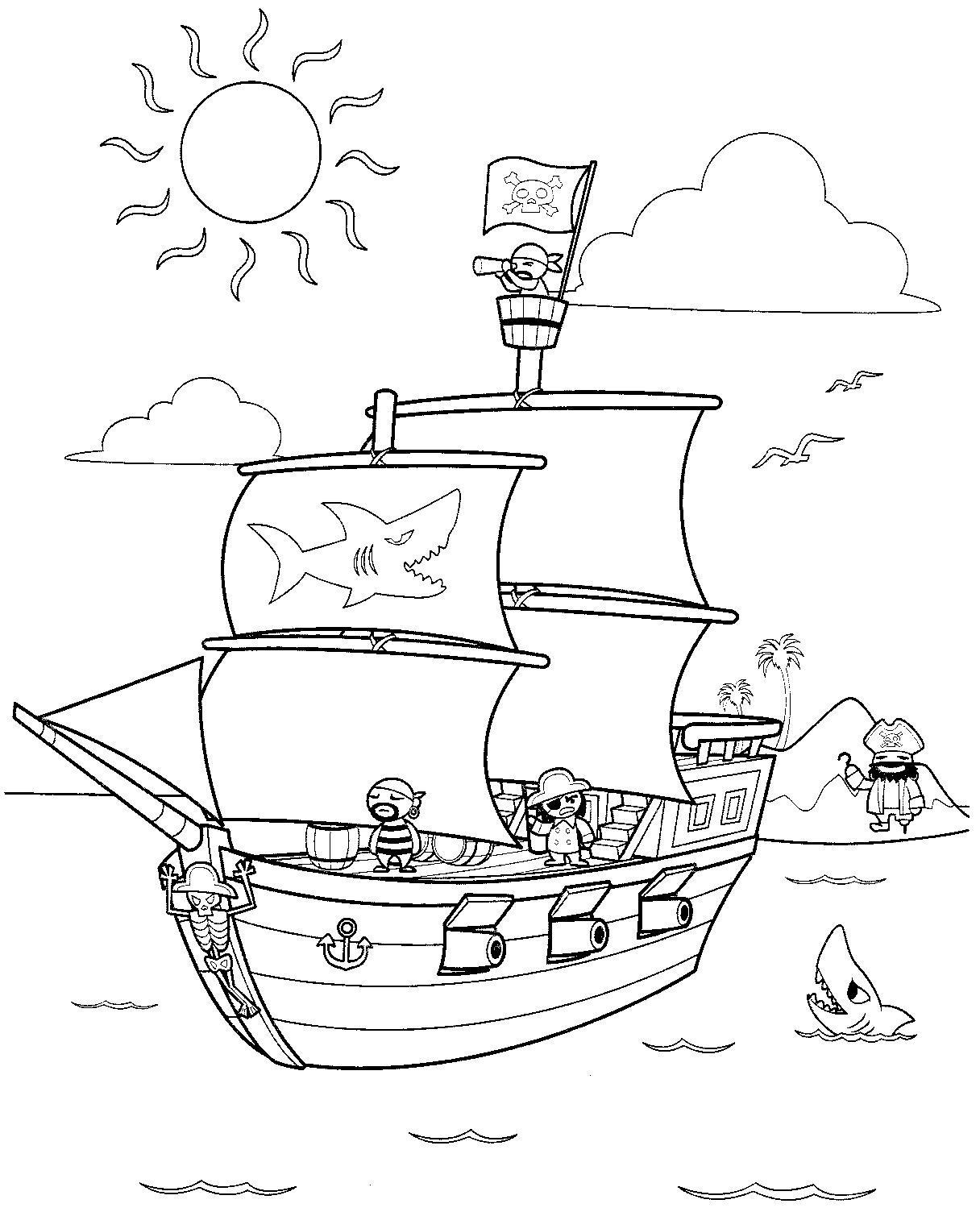 Dessin Dessin bateau pirate pour imprimer et colorier