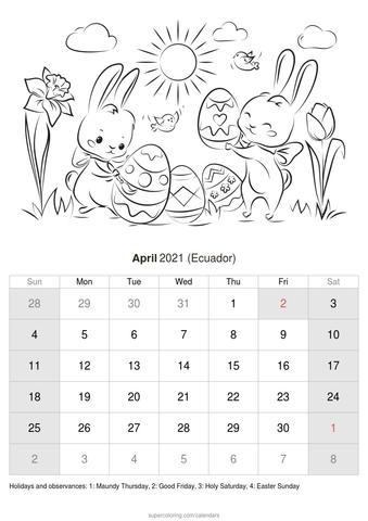 April 2021 Calendar Ecuador