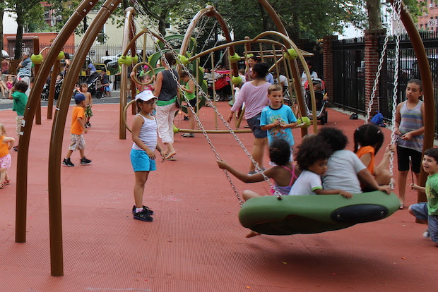 <p>The swing on the right was temporarily removed from Slope Park playground after at least three children fractured their ankles while playing on it.</p>