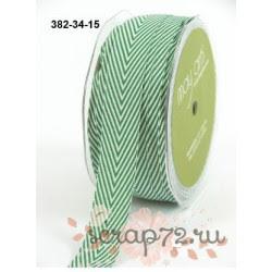 Лента Twill от May Arts, шеврон, цвет зеленый, 19мм, 90см