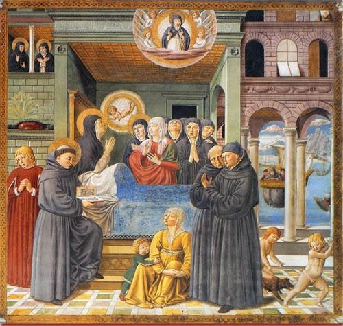 Muerte de la Santa, obra de Benozzo Gozzoli (1464-65). Capilla de San Agustín, San Gimignano (Italia).