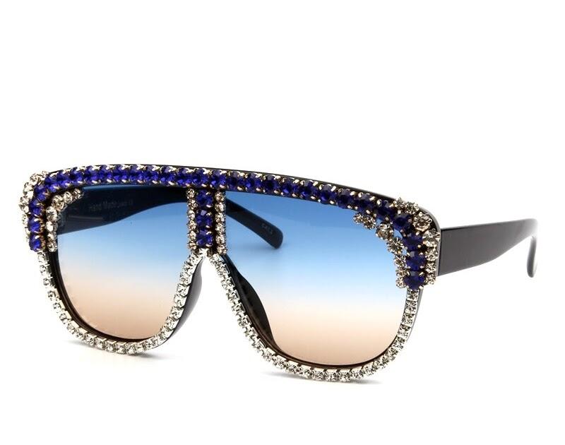 9c8088a5d3457 Comprar Superdimensionada Óculos De Sol Das Mulheres Grande Quadro Flat Top  Strass Homens 2018 Novo Designer óculos Do Vintage Gradiente Quadrado Tons  ...