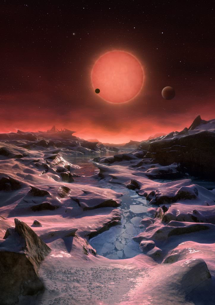 Artist's impression of the view from the most distant exoplanet discovered around the red dwarf star TRAPPIST-1. Credit: ESO/M. Kornmesser.