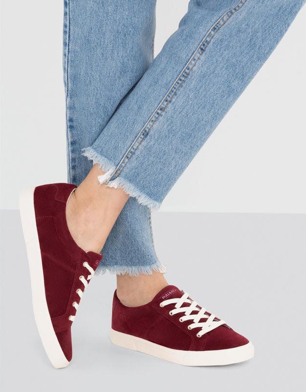Pull&Bear - sapatos - · sapatilhas - ténis bamba básicos bordeaux - bordô - 15755111-I2016