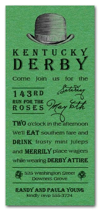 Derby Hat Shimmery Green Kentucky Derby Party Invitations