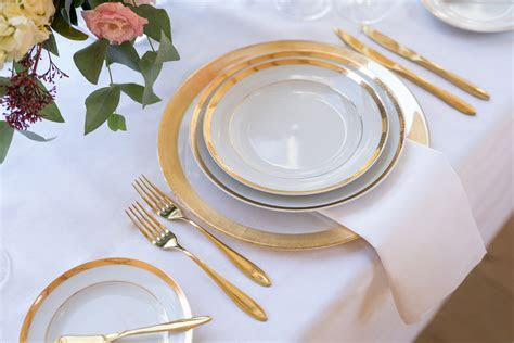 Mila Gold Rimmed Charger Plate   Classic Crockery Event Hire