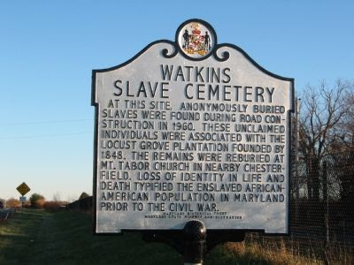 Watkins Slave Cemetary Marker Photo, Click for full size