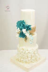Teal White And Gold Cake   CakeCentral.com