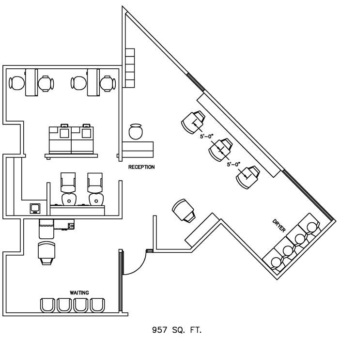 Barber Shop Floor Plan Design Layout - 957 Square Foot