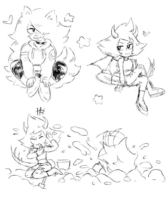 ✨Day 4 Monster AU: Dragon x Werewolf gfs~