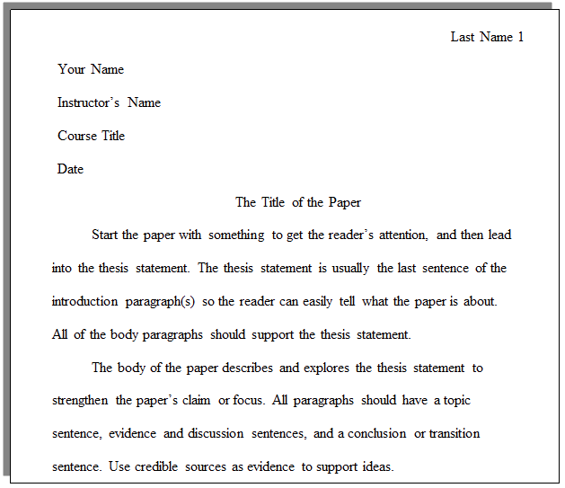 what format do you write college essays in