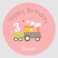 3rd Birthday (Girl) Cupcake Toppers/Stickers