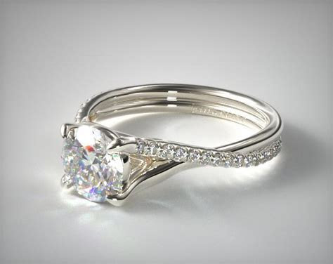 Twisted Pave Shank Contemporary Solitaire Ring   18K White