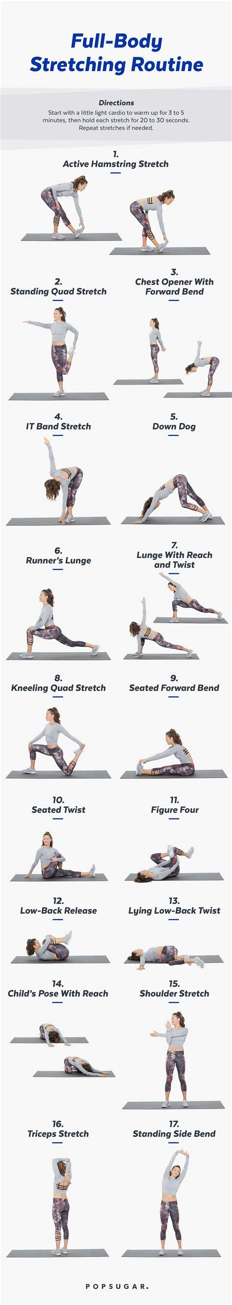 printable stretch routine popsugar fitness