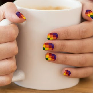 Checkered Rainbow Fingernail Decal
