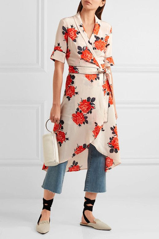 Le Fashion Blog Under $500 Ganni Harness Floral Print Wrap Dress Via Net A Porter