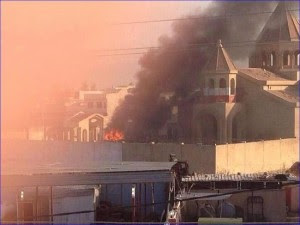 mosul church on fire