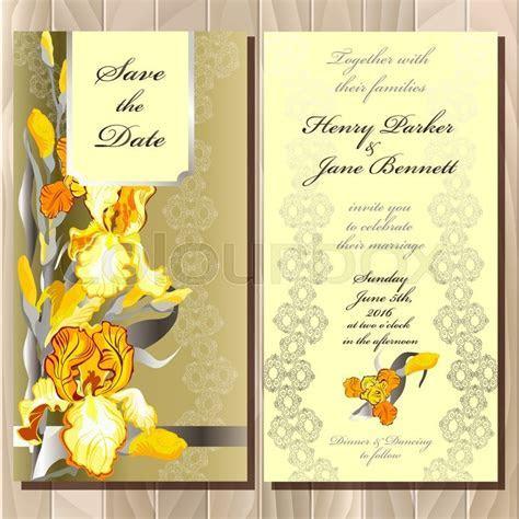 Wedding card with yellow, orange,     Stock Vector