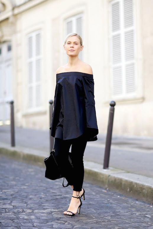 15 Le Fashion 31 Stylish Ways To Wear An Off The Shoulder Look Tibi Navy Tunic Pants Sandals Via We The People