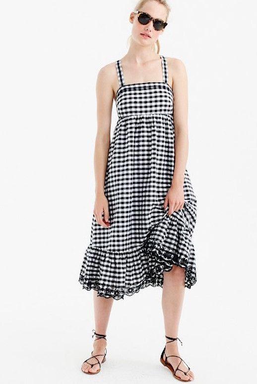 Le Fashion Blog 11 New Arrivals From JCREW To Obsess Over Gingham Eyelet Trim Dress Via Jcrew