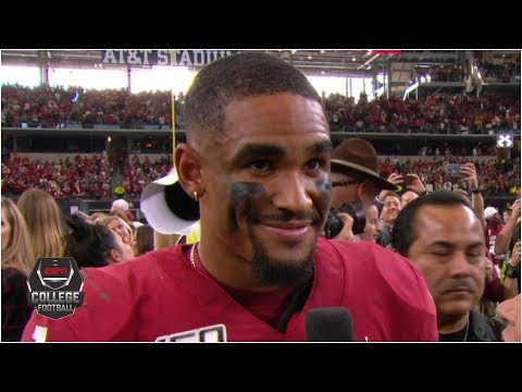 Jalen Hurts reacts to Oklahoma beating Baylor in Big 12 Championship