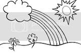 Rainbow coloring sheets featuring the sun, and shamrocks on the ground. Free pages for kids.