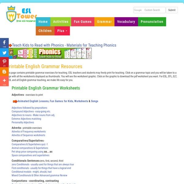 Printable English Grammar Exercises Esl Grammar Worksheets Pearltrees