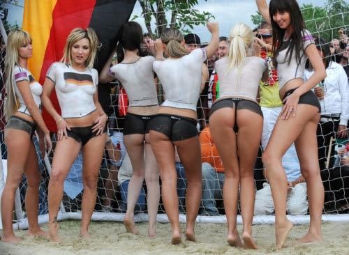 Bodypainted Soccer German Girls