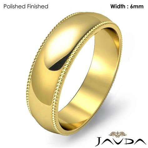 Solid Men's Wedding Band Dome Milgrain Edge Ring 6mm 14k