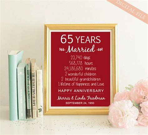 65th Anniversary Gift for parents her women men wife him