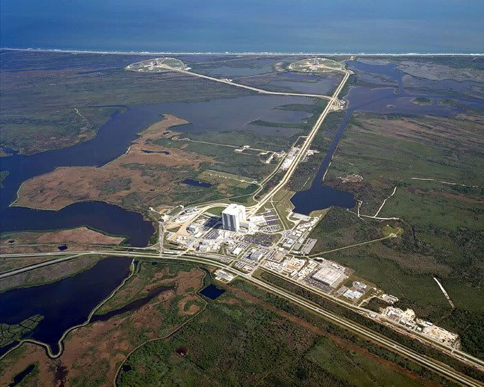 An aerial view of NASA's Kennedy Space Center in Florida.