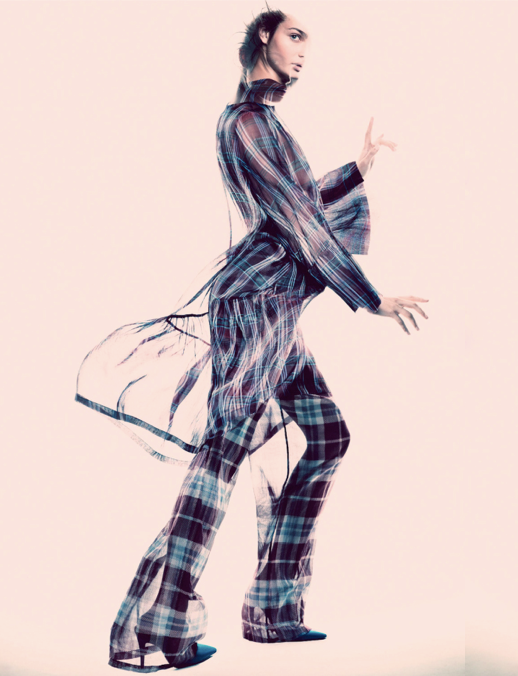 LE FASHION BLOG EDITORIALS SPRING SUMMER SHEER TREND ELLE SWEDEN SHEER TRANSPARENT DRIES VAN NOTEN PLAID WIDE LEG PANTS TOP SHIRT FLOWY BLUE PUMPS HEELS Varljus Moa Aberg By Andreas Sjoden Elle Sweden Summer 2013 Stylist Styled by Lisa Lindqwister Hair Rudi Lewis Makeup Ignacio Alonso 10