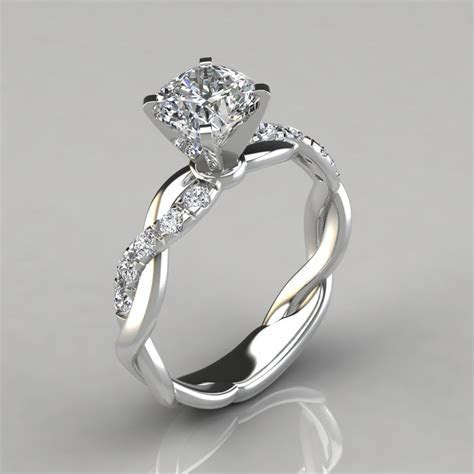 Twist Cushion Cut Engagement Ring   Forever Moissanite