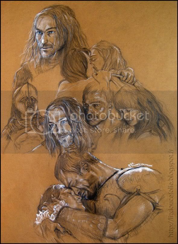 Spartacus Andy Whitfield Erin Cummings Blood and Sand crayon craie blanche papier couleur portrait passion amour love lovers