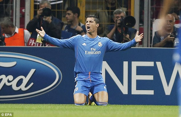 Frustration: Cristiano Ronaldo gestures towards the referee after being brought down
