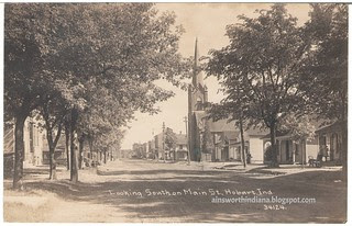 Looking south on Main from near Front St., Hobart IN. Postmark 1913. Rosalie Pfister.