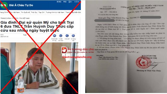 Trại giam trả lời về thông tin 'Trần Huỳnh Duy Thức tuyệt thực 50 ngày phải cấp cứu ở bệnh viện Ba Lan'