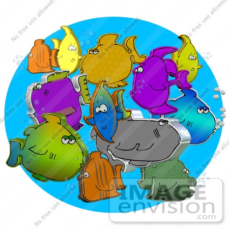 clipart fishes. #29734 Clip Art Graphic of 3D